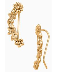 Olivia Burton - Metallic Bee Blooms Crawler Earrings - Lyst