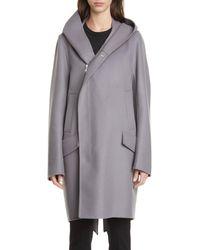 Rick Owens Blue Slab Hooded Long Wool & Nylon Coat