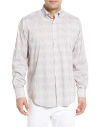 Bugatchi Pink Classic Fit Marled Performance Sport Shirt for men