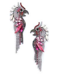 Elizabeth Cole Pink Crystal Parrot Earrings
