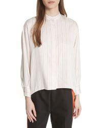 Maje White Stripe High/low Blouse
