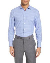 Nordstrom Blue Tech-smart Trim Fit Stretch Plaid Dress Shirt for men
