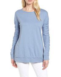 Caslon - Gray Caslon Scrunch Sleeve Sweatshirt - Lyst