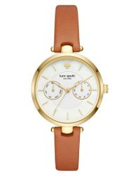 Kate Spade - Metallic Holland Leather Strap Watch - Lyst