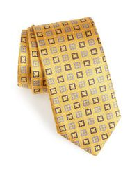 Canali Yellow Geometric Silk Tie for men
