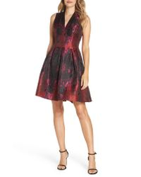 Vince Camuto Multicolor Jacquard Fit & Flare Dress