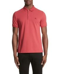 Burberry - Red Pique Polo for Men - Lyst