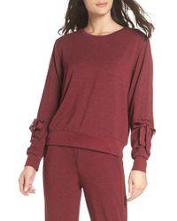 Zella - Red Gather Sleeve Sweatshirt - Lyst