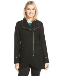 Trina Turk Black 'mackenzie' Asymmetric Zip Leather Trim Coat