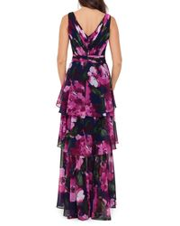 Xscape Pink Floral Tiered Chiffon Gown