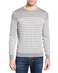 John Smedley - Gray Stripe Sweater for Men - Lyst