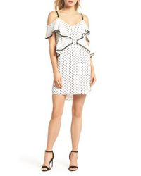 Adelyn Rae - White Polka Dot Convertible Sleeve Dress - Lyst