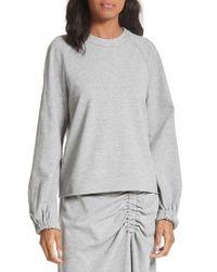 Tibi Gray Blouson Sleeve Sweatshirt