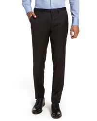 BOSS Black Wave Cyl Flat Front Slim Fit Solid Wool Dress Pants for men
