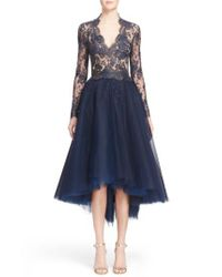 Reem Acra | Blue Chantilly Lace & Embellished Tulle High/low Dress | Lyst