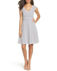 Adrianna Papell | White Stripe Fit & Flare Dress | Lyst