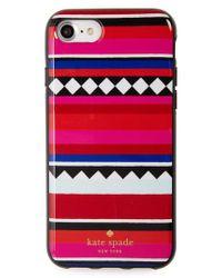 Kate Spade | Red Geo Stripe Iphone 7 & 7 Plus Case | Lyst
