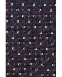 BOSS Blue Geometric Silk Skinny Tie for men