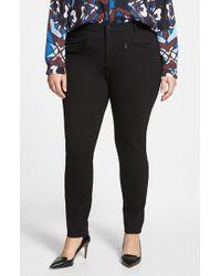 NYDJ | Black 'ski' Zip Pocket Ponte Knit Skinny Pants | Lyst