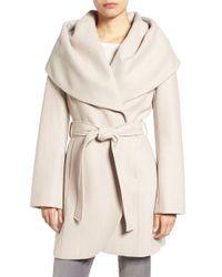 Tahari Black Wool Blend Belted Wrap Coat
