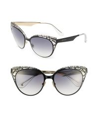 Jimmy Choo   'estelle' Metal Cat Eye Crystal Lace 55mm Sunglasses - Shiny Black   Lyst