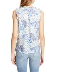Rebecca Taylor Blue Floral Shirred Silk Tank Top