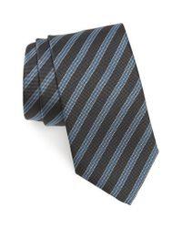 David Donahue Gray Stripe Silk Tie for men
