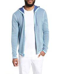 Zachary Prell Blue Lemmon Cotton & Cashmere Zip Hoodie for men