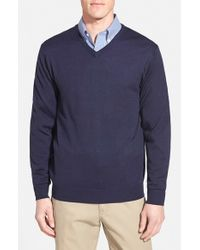 Cutter & Buck | Blue 'douglas' Merino Wool Blend V-neck Sweater for Men | Lyst