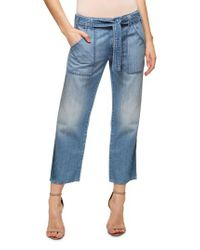 Sanctuary | Blue Karate Belted Crop Jeans | Lyst