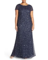 Adrianna Papell | Blue Embellished Scoop Back Gown | Lyst