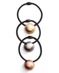 Tasha - 3-pack Ball Charm Ponytail Holders, Black - Lyst