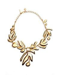 Oscar de la Renta | Metallic Graphic Botanic Collar Necklace | Lyst