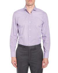 BOSS - Purple Mark Sharp Fit Check Dress Shirt for Men - Lyst