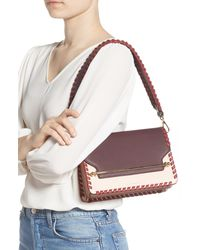 Strathberry Pink East/west Whipstitch Leather Crossbody Bag - Burgundy