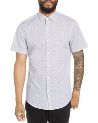 Calibrate - White Trim Fit Print Short Sleeve Sport Shirt for Men - Lyst