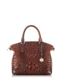 Brahmin Brown 'medium Duxbury' Croc Embossed Leather Satchel -
