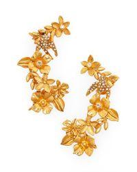 Oscar de la Renta - Metallic Bouquet Cuff Clip-on Earrings - Lyst