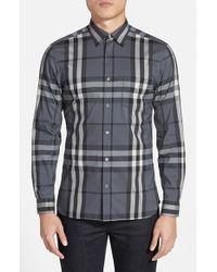 Burberry Brit | Gray 'nelson' Slim Fit Check Sport Shirt for Men | Lyst