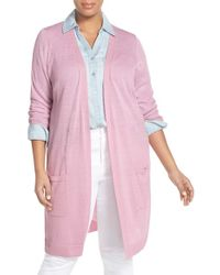 Halogen - Pink Open Front Long Cardigan - Lyst