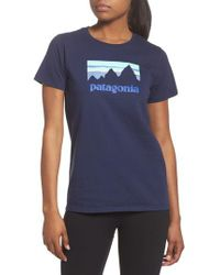 Patagonia - Blue Shop Sticker Tee - Lyst