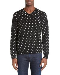 Comme des Garçons | Black Play Dot Pattern V-neck Sweater for Men | Lyst