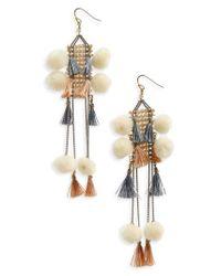 Nakamol - Gray Pom & Tassel Crystal Ladder Earrings - Lyst