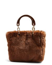 TOPSHOP Brown Faith Faux Fur Top Handle Bag