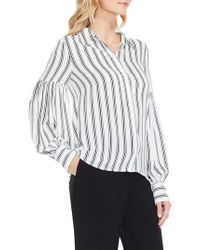 Vince Camuto | Multicolor Stripe Puff Sleeve Blouse | Lyst