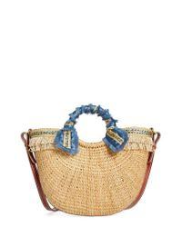 Sam Edelman - Blue Metallic Fringed Straw Tote - Lyst