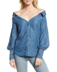 Ella Moss - Blue Off The Shoulder Chambray Top - Lyst