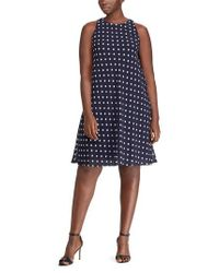 Lauren by Ralph Lauren Blue Polka Dot Dress