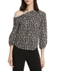 Saloni - Black Ness Print Silk Off The Shoulder Top - Lyst