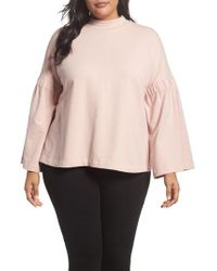 Two By Vince Camuto - Pink Bell Sleeve Top - Lyst
